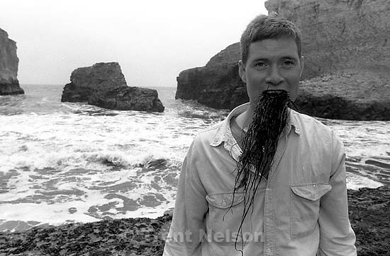 Paul Doerr with seaweed in his mouth<br />