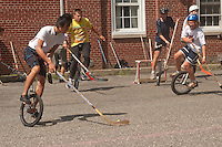 Governor's  Island, NY -  4 September 2010 Unicyclists play hockey (unicycle polo ) at the New York City Unicycle Festival on Governor's Island.