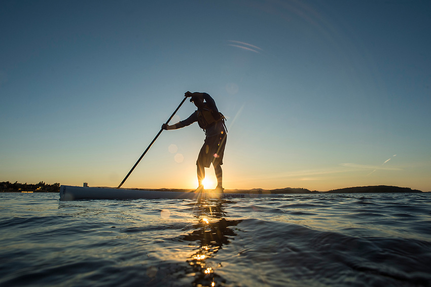 Stand Up Paddling SUP on Lake Superior at Marquette, Michigan.