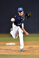 Asheville Tourists pitcher Trent Blank #22 delivers a pitch during a game against the Rome Braves at McCormick Field on May 1, 2014 in Asheville, North Carolina. The Tourists defeated the Braves 8-7. (Tony Farlow/Four Seam Images)