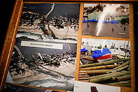 Pictures of houses destroyed during Sandy's storm are displayed while NJ's governor Chris Christie visited the Jersey shore's reconstruction, marking the second anniversary of Sandy storm in New Jersey. 10.29.2014. Eduardo MunozAlvarez/VIEWpress