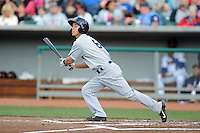 Huntsville Stars shortstop Nick Shaw #8 swings at a pitch during a game against Tennessee Smokies at Smokies Park on April 25, 2014 in Kodak, Tennessee. The Stars defeated the Smokies 15-1. (Tony Farlow/Four Seam Images)