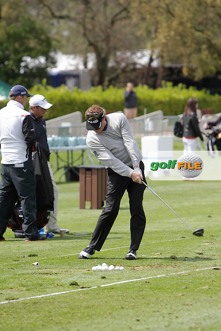 Miguel Angel Jimenez (ESP) on the driving range during Practice Day 1of The Open De Espana at The PGA Catalunya Resort on Tuesday 13th May 2014.<br /> Picture:  Thos Caffrey / www.golffile.ie