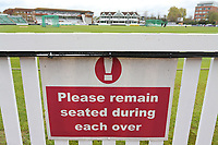 Please Remain Seated signage during Somerset CCC vs Essex CCC, Specsavers County Championship Division 1 Cricket at The Cooper Associates County Ground on 15th April 2017
