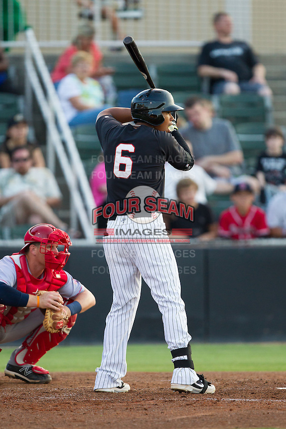 Tyler Williams (6) of the Kannapolis Intimidators at bat against the Hagerstown Suns at CMC-Northeast Stadium on May 31, 2014 in Kannapolis, North Carolina.  The Intimidators defeated the Suns 4-3 in game two of a double-header.  (Brian Westerholt/Four Seam Images)
