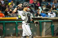 Jett Bandy (27) of the Salt Lake Bees on defense against the Sacramento River Cats in Pacific Coast League action at Smith's Ballpark on April 17, 2015 in Salt Lake City, Utah.  (Stephen Smith/Four Seam Images)