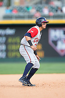 Rio Ruiz (24) of the Gwinnett Braves takes his lead off of second base against the Charlotte Knights at BB&T BallPark on May 22, 2016 in Charlotte, North Carolina.  The Knights defeated the Braves 9-8 in 11 innings.  (Brian Westerholt/Four Seam Images)