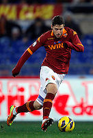 Calcio, semifinale di andata di Coppa Italia: Roma vs Inter. Roma, stadio Olimpico, 23 gennaio 2013..AS Roma forward Mattia Destro in action during the Italy Cup football semifinal first half match between AS Roma and FC Inter at Rome's Olympic stadium, 23 January 2013..UPDATE IMAGES PRESS/Isabella Bonotto