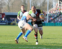 Mike Brown of Harlequins is tackled by Dan Hipkiss of Bath Rugby  during the Aviva Premiership match between Harlequins and Bath Rugby at The Twickenham Stoop on Saturday 24th March 2012 (Photo by Rob Munro)