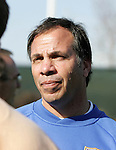 Bruce Arena, head coach, talks with the press on Monday, April 10th, 2006 at SAS Stadium in Cary, North Carolina. The United States Men's National Team practiced the day before playing an international friendly against Jamaica.