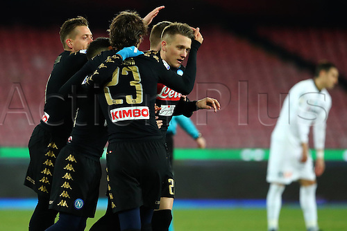 10.01.2017. Stadio San Paolo, Naples, Italy. Coppa Italia Round of 16, Napoli versus Spezia. Napoli players celebrate their goal scored by Piotr Zielinski which put his side 1-0 in front. Napoli won the game 3-1.