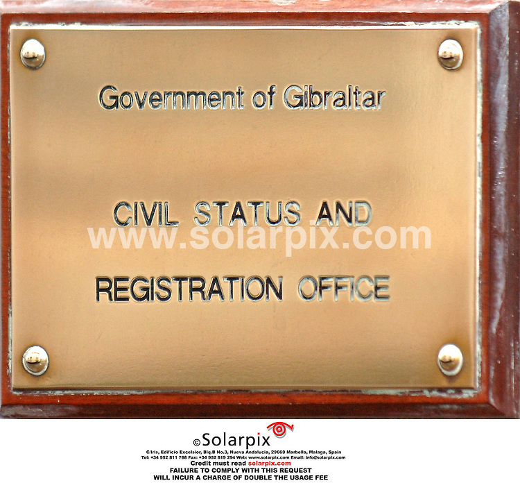 PICTURES BY SOLARPIX.COM. .Gibraltar Civil Status and Registration Office - plaque.JOB REF:2768-JGS..MUST CREDIT SOLARPIX.COM OR DOUBLE FEE WILL BE CHARGED.....