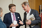 Nic Millington (RMC) and Richard Benyon MP, Under Secretary of State, DEFRA.  Rural Media Company and ACRE screening of Over the Hill at an event at Portcullis House, Westminster; 16/5/12.