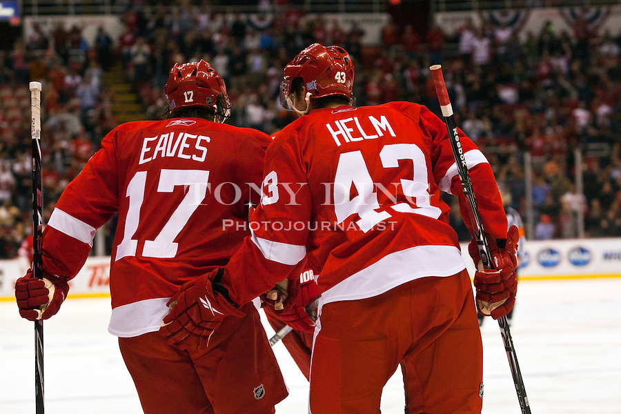 12 October 2010: Detroit Red Wings forward Patrick Eaves (17) gets a pat in the back from forward Darren Helm (43) after the two combined to score a goal in the third period of the Colorado Avalanche at Detroit Red Wings NHL hockey game, at Joe Louis Arena, in Detroit, MI. Colorado won 5-4 in shootouts...***** Editorial Use Only *****