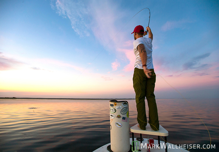Michael Tolbert sets the hook on the flats at Shell Point with Justin Wallheiser.