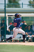 GCL Braves right fielder Yoeli Lopez (53) hits a foul ball during a game against the GCL Pirates on July 26, 2017 at Pirate City in Bradenton, Florida.  GCL Braves defeated the GCL Pirates 12-5.  (Mike Janes/Four Seam Images)