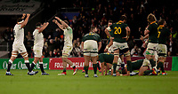 England players celebrate at the final whistle<br /> <br /> Photographer Bob Bradford/CameraSport<br /> <br /> Quilter Internationals - England v South Africa - Saturday 3rd November 2018 - Twickenham Stadium - London<br /> <br /> World Copyright © 2018 CameraSport. All rights reserved. 43 Linden Ave. Countesthorpe. Leicester. England. LE8 5PG - Tel: +44 (0) 116 277 4147 - admin@camerasport.com - www.camerasport.com