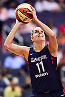 Washington, DC - June 15, 2018: Washington Mystics guard Elena Delle Donne (11) shoots the ball during game between the Washington Mystics and New York Liberty at the Capital One Arena in Washington, DC. (Photo by Phil Peters/Media Images International)