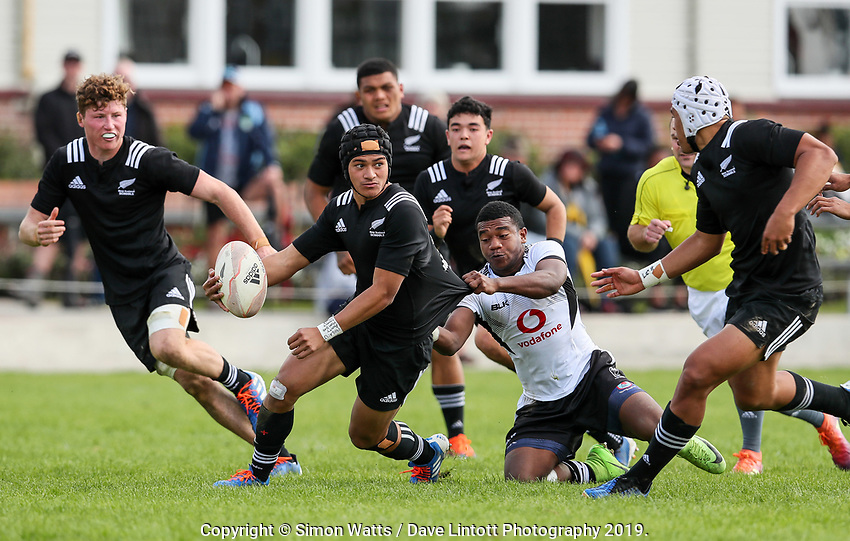 Roderick Solo in action during the rugby union match between New Zealand Schools and Fiji Schools at Hamilton Boys' High School in Hamilton, New Zealand on Monday, 30 September 2019. Photo: Simon Watts / lintottphoto.co.nz
