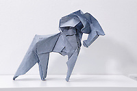 Surface to Structure origami exhibition at Cooper Union, New York. Gallery view. Caballo designed and folded by Fabian Correa Gomez 2012.