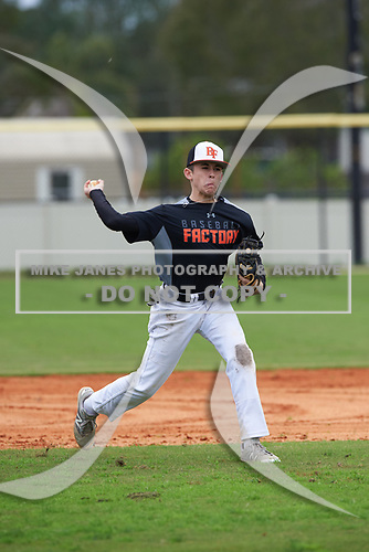 Mason Page (14) of Palmetto, Florida during the Baseball Factory All-America Pre-Season Rookie Tournament, powered by Under Armour, on January 13, 2018 at Lake Myrtle Sports Complex in Auburndale, Florida.  (Michael Johnson/Four Seam Images)