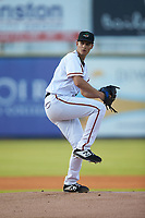 Down East Wood Ducks starting pitcher Francisco Villegas (31) in action against the Winston-Salem Dash at Grainger Stadium Field on May 17, 2019 in Kinston, North Carolina. The Dash defeated the Wood Ducks 8-2. (Brian Westerholt/Four Seam Images)