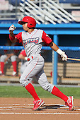 Williamsport Crosscutters infielder Cesar Hernandez (7) during a game vs the Batavia Muckdogs at Dwyer Stadium in Batavia, New York July 25, 2010.   Batavia defeated Williamsport 8-1.  Photo By Mike Janes/Four Seam Images