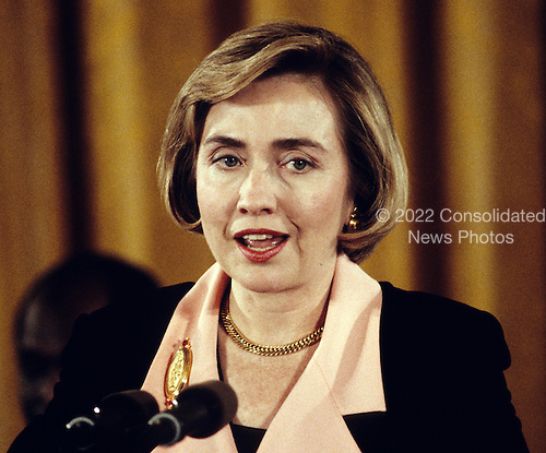 First lady Hillary Rodham Clinton speaks as part of the program commemorating the 30th anniversary of the Head Start anti-poverty program at the White House in Washington, D.C. on May 18, 1994.<br /> Credit: Ron Sachs / CNP