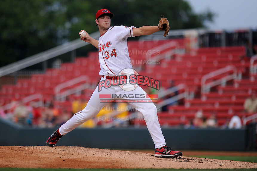 Pitcher Jacob Dahlstrand (34) of the Greenville Drive in a game against the Kannapolis Intimidators on Monday, August 5, 2013, at Fluor Field at the West End in Greenville, South Carolina. Kannapolis won, 3-0. (Tom Priddy/Four Seam Images)