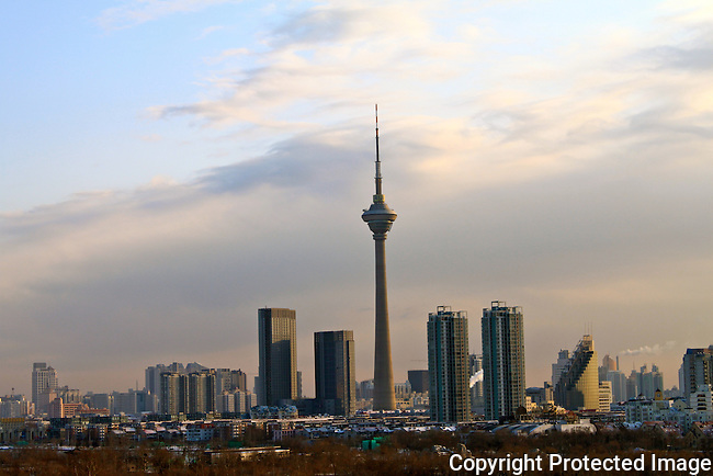 Tianjin tv tower city skyline sunrise view photo