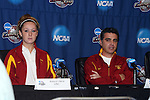 08 December 2007: Ashley Nick (l) and head coach Ali Khosroshahin (r). The University of Southern California Trojans held a press conference at the Aggie Soccer Stadium in College Station, Texas one day before playing in the NCAA Division I Womens College Cup championship game.