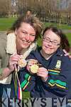 MEDALS: At the Special Olympics day at Kennedy Farm, Killarney, last Saturday, Olympic Games legend Anne Kissane Nieuwenhuizen brought along her 1984 Gold Medal and 1988 Bronze Medal (which she won for Holland playing field hockey) to show them to Kerry athlete Janet ODonoghue who will be representing Ireland in the Beijing Olympic Games. Front row l-r:  Anne Kissane, Janet ODonoghue,