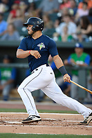 Catcher Brandon Brosher (25) of the Columbia Fireflies bats in a game against the Lexington Legends on Thursday, June 8, 2017, at Spirit Communications Park in Columbia, South Carolina. Columbia won, 8-0. (Tom Priddy/Four Seam Images)