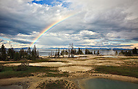 A rainbow over Yellowstone Lake, photographed from West Thumb Geyser Basin in Yellowstone National Park