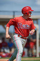 GCL Phillies right fielder Ben Pelletier (26) runs to first base during a game against the GCL Tigers East on July 25, 2017 at TigerTown in Lakeland, Florida.  GCL Phillies defeated the GCL Tigers East 4-1.  (Mike Janes/Four Seam Images)
