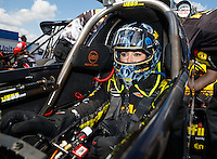 Sep 17, 2016; Concord, NC, USA; NHRA top fuel driver Leah Pritchett during qualifying for the Carolina Nationals at zMax Dragway. Mandatory Credit: Mark J. Rebilas-USA TODAY Sports