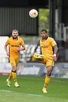 Joss Labadie of Newport County lofts the ball forward during the Sky Bet League 2 match between Newport County and Cheltenham Town at Rodney Parade, Newport, Wales on 10 September 2016. Photo by Mark  Hawkins / PRiME Media Images.