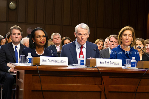 Panel introducing Judge Brett Kavanaugh before the United States Senate Judiciary Committee on his nomination as Associate Justice of the US Supreme Court to replace the retiring Justice Anthony Kennedy on Capitol Hill in Washington, DC on Tuesday, September 4, 2018.  from left to right: Former US Secretary of State Condoleezza Rice, US Senator Rob Portman (Republican of Ohio), and Lisa S. Blatt, partner, Arnold and Porter, and a self-described liberal Democrat.<br /> Credit: Ron Sachs / CNP<br /> (RESTRICTION: NO New York or New Jersey Newspapers or newspapers within a 75 mile radius of New York City)