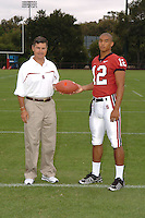 7 August 2006: Stanford Cardinal head coach Walt Harris and C.J. Easter during Stanford Football's Team Photo Day at Stanford Football's Practice Field in Stanford, CA.