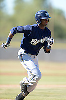 Milwaukee Brewers outfielder Carlos Belonis (27) during an Instructional League game against the Los Angeles Angels on October 11, 2013 at Tempe Diablo Stadium Complex in Tempe, Arizona.  (Mike Janes/Four Seam Images)