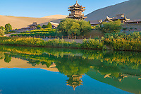 Crescent Lake, Gobi Desert, China  Surrounded by Echoing-Sand Mountain  Dunhuang, Gansu Province