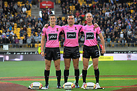 The match officials before the 2017 Rugby League World Cup quarterfinal match between New Zealand Kiwis and Fiji at Wellington Regional Stadium in Wellington, New Zealand on Saturday, 18 November 2017. Photo: Dave Lintott / lintottphoto.co.nz
