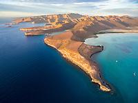 aerial view of Punta Prieta and San Gabriel Bay, La Paz, Baja California Sur, Mexico, Gulf of California, Sea of Cortez, Pacific Ocean