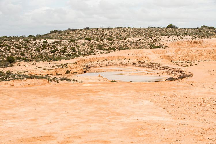Restoration of a borrow pit at Shark bay salt, a solar salt farm, in Western Australia.