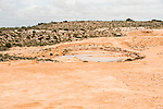 Restoration of a borrow pit at Shark bay salt, a solar salt farm, in Western Australia.
