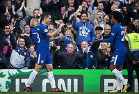 Cesar Azpilicueta of Chelsea celebrates his goal with Willian of Chelsea during the Premier League match between Chelsea and Watford at Stamford Bridge, London, England on 21 October 2017. Photo by Andy Rowland.