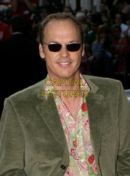 "MICHAEL KEATON.""Herbie Fully Loaded"" Premiere,.Leicester Square, London,.28th July 2005.half length green cord jacket pink green paisley pattern shirt sunglasses .www.capitalpictures.com.sales@capitalpictures.com.© Capital Pictures."