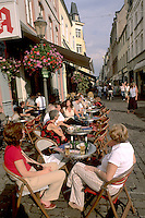 Germany Koblenz Old Town Center with tourists and cafes