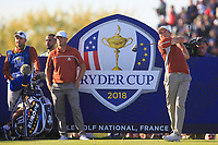 Sergio Garcia (Team Europe) on the 13th tee during Saturday Foursomes at the Ryder Cup, Le Golf National, Ile-de-France, France. 29/09/2018.<br /> Picture Thos Caffrey / Golffile.ie<br /> <br /> All photo usage must carry mandatory copyright credit (&copy; Golffile | Thos Caffrey)