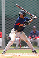Henry Ramos (25) Outfielder for the GCL Red Sox during a game against the GCL Rays on July 15th, 2010 at Charlotte Sports Park in Port Charlotte Florida. The GCL Rays are the the Gulf Coast Rookie League affiliate of the Boston Red Sox. Ramos was selected by the Red Sox in the 5th Round (173rd overall) of the 2010 MLB First Year Player Draft. Photo by: Mark LoMoglio/Four Seam Images